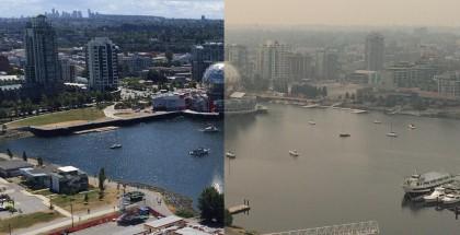 温哥华雾霾天气前后对比图