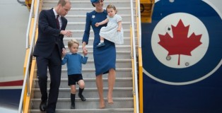 Britain's Prince William and his wife Kate, the Duke and Duchess of Cambridge, along with their children Prince George and Princess Charlotte arrive in Victoria, British Columbia, Saturday, Sept. 24, 2016. (Jonathan Hayward/The Canadian Press via AP)